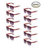 ONNEA 10 Piezas Gafas de Sol Fiesta Colores Paquete Años 80 (Rojos 10-Pack)