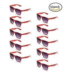 Idea Regalo - ONNEA 10 Coppie Set Occhiali da Sole per Bambini Adulti (Rosso 10-Pack)