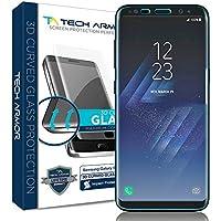 Tech Armor Displayschutz aus 3D-Glas für Samsung Galaxy S8 - gewölbter Rand - Transparent - 1 Stück