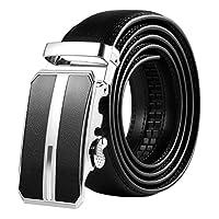 Vbiger Automatic Buckle Belt Leather Belts Fashionable Waist Band for Men - Black -