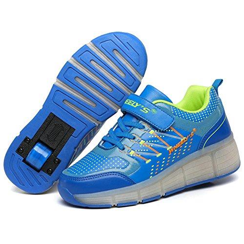 Unisex Schuhe mit Roller Skate ein Rad Schuhe Skateboard Boys Mädchen Erwachsene Led Lights Sports Sneaker Blau