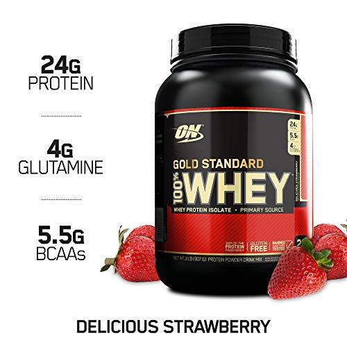Optimum Nutrition Gold Standard 100% Whey Proteína en Polvo, Fresa - 907 g
