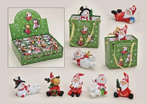24 Weihnachtsfiguren Elch Schneemann Weihnachtsmann im Display sort.(A/1/2)(P.124)