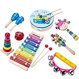 Aideal Percussion Spielzeug Kinder 9 Stück Musikinstrumente Performance Schlagzeug Schlagwerk Rhythmus Instrumenten and Set mit Xylophon