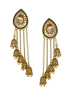 Anuradha Art Silver Finish Adorable Studded Sparkling Stone Long Earrings For Women//Girls