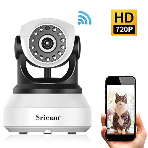 Wlan IP Kamera, Sricam 720P HD WiFi Überwachungskamera,mit 355°/90°Schwenkbar,Home und Baby Monitor mit Bewegungserkennung, Zwei-Wege-Audio, Nachtsicht, unterstützt Fernalarm und Mobile App Kontrolle