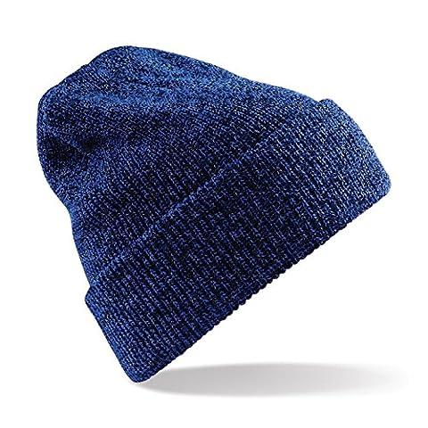 Unisex Beechfield Heritage Vintage Double Knit Beanie Hat Antique Royal Blue One Size