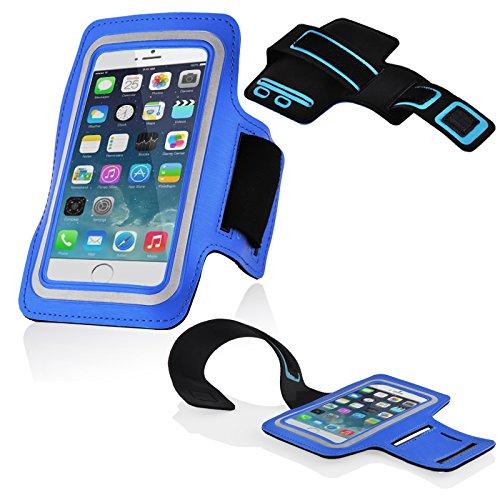 Cadorabo - Neopren Smartphone Sport Armband Fitnessstudio Jogging Armband Oberarmtasche kompatibel mit 4.5 - 5.0 Zoll Handys wie z. B. Apple iPhone 6, 7, Samsung Galaxy A3, > HTC ONE A9 < usw. mit Schlüsselfach und Kopfhöreranschluss in BLAU