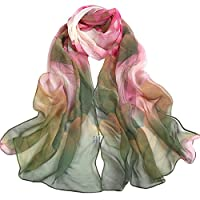 Joyfeel buy 1 Piece Lady Silk Scarf Elegant Lotus Pattern Long Soft Sunscreen Beach Breathable Ligntweight Shawl for Women