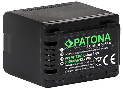 PATONA Premium Akku für Panasonic VW VBT380 E (echte 3800mAh) mit Infochip (Nicht für VXF11 VX11 V808) - Für HC VXF999 VX878 VX989 V160 V180 V270 V380 V550 V550CT V757 V727 V777 W570 W580 WX979