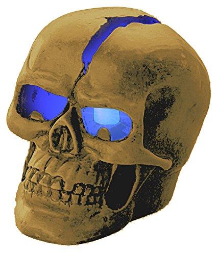 Lunartec Totenkopf: Schädel-Leuchte Crackhead 1 Blaue LED (Beleuchteter Totenkopf)