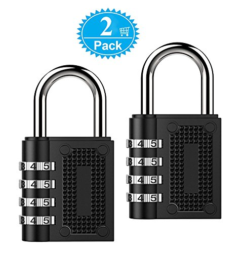 Combination Lock BeskooHome Security Padlock - [2-Pack] Weather Proof Heavy Duty Lock With 4-Digit Smooth Dial For School, Gym, Sports Bag, Garage, Tool Box, Garden Gate, Outdoor Shed Locker - Black