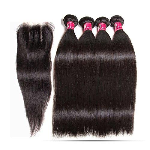saomai® 7 A droite cheveux vierges péruviens avec fermeture 5 Lot, soyeux droite trames de cheveux humains avec fermeture en dentelle, 4bundles avec fermeture