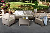 Keter Corfu Outdoor 5-Seater Garden Lounge Set - Cappuccino with Cream Cushion