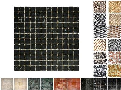 1Netz Marmor Mosaik Nero 23 von Mosaikdiscount24 - TapetenShop