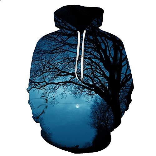 3DWY Männer/Frauen 3D Hoodies Print Nightfall Bäume entwarf 3D Sweatshirts Unisex Space Galaxy Kapuzen-Hoodies, XXXL
