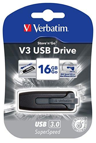 Verbatim 49172 Store 'N' GO V3 - Memoria USB 3.0 (60 MB/s) de 16 GB, color gris