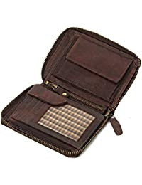 Ven Tomy - Cartera Monedero para Mujer y Hombre de Cuero, pequeño Vintage marrón Oscuro