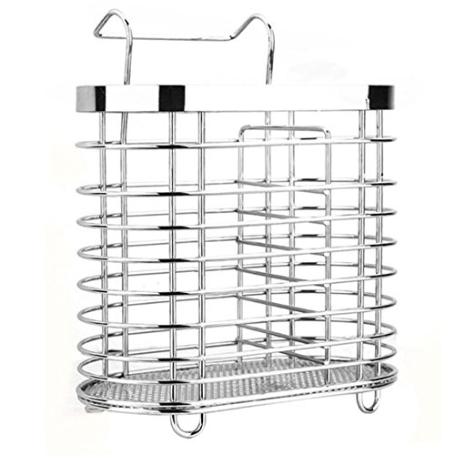 Swallowzy Utensil Drying Rack-Stainless Steel Hanging 2 Compartments Mesh Utensil Drying Rack/ Chopsticks/Spoon/Fork/Knife Drainer Basket Cutlery Flatware Storage Drainer,Round Type
