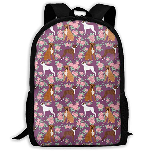 best& Boxer Dog Florals Pattern Rose Amethyst Adult Travel Backpack School Casual Daypack Oxford Outdoor Laptop Bag College Computer Shoulder Bags 11x17x6.3 Inch. - Floral Boxer