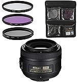 Nikon Objektiv - AF-S DX Nikkor 35mm 1:1,8G - Festbrennweite-Objektiv für Spiegelreflexkameras + 3-Teiliges Filterset UV, FLD, CPL - Schwarz