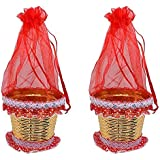 Pelo Potli Basket For Decoration, Polti Basket For Chocolate And Fruits, Set Of 2, Red, 20 Gram, Pack Of 1
