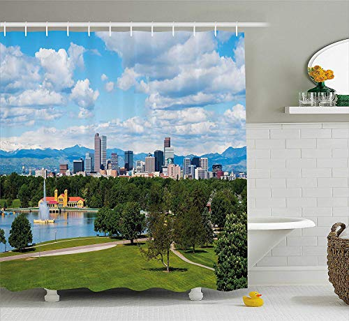 urtain, City Park at Denver Colorado Downtown Tree and Architecture Sunny Panorama, Fabric Bathroom Decor Set with Hooks, 60x72 inches Extra Long, Sky Blue Fern Green ()