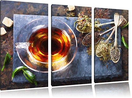 Hot erbe pennello effetto immagine Canvas 3 PC 120x80 immagine sulla tela, XXL enormi immagini completamente Pagina con la barella, stampe d'arte sul murale cornice gänstiger come la pittura o un dipinto ad olio, non un manifesto o un banner, - Arancione Menta Dell'erba