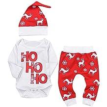 QUICKLYLY 3pcs Navidad Conjuntos de Ropa Para Bebé Niña Niño Carta Impresión Mameluco Tops + Ciervos
