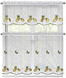 Window Elements Embroidered 3-Piece Kitchen Tier and Valance 60 x 54 Set, Pineapple