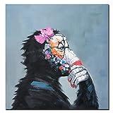 Fajerminart - Cuadro En Lienzo - Música Animal Pintura Al óleo del Mono Pintura De La Lona De La Reproducción, Arte De La Pared De La Lona De Las Pinturas, Cuadros Decoracion (100x100cm)(Sin Marco)