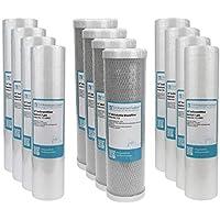 "2 Jahre Filter Set 10"" 12-teilig Ersatzfilter Umkehrosmose RO Sediment Aktivkohle"