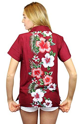 King Kameha | Funky Chemisier Hawaïenne | Femmes | XS - 6XL | Manche-Courte | Poche-Avant | Hawaiian-Imprimer | Mariage | Rouge Rouge
