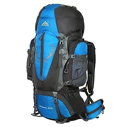 HWJIANFENG Backpack for Outdoor Sports Hiking Traveling Trekking Camping Waterproof Mountaineering Ultralarge Capacity Internal Frame Men Women 80L+5L 1