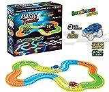 CLASTIK 11 feet Long Magic Tracks Flexible Bendable Dark Glow Assembling Racetrack Set