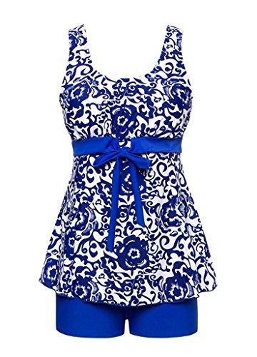 Surenow Traje de Baño Azul y Blanco Porcelana para Mujeres Cabestro de Una Sola Pieza