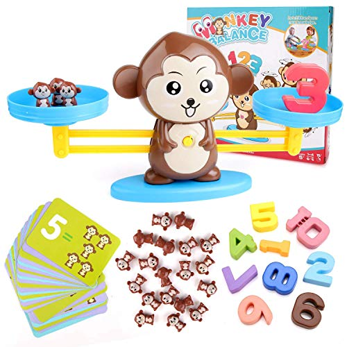 BBLIKE Juguete de Matemáticas, 65 PCS Monkey Balance Tarjetas de Matemáticas Bloque Digital Juego Educativo Juegos de Matemáticas Regalo para Niños y Niñas de 3 Años y Más