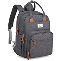 Changing Bag Backpack, Baby Diaper Bag Nappy Back Pack with Changing Mat for Mom and Dad (Dark Grey)