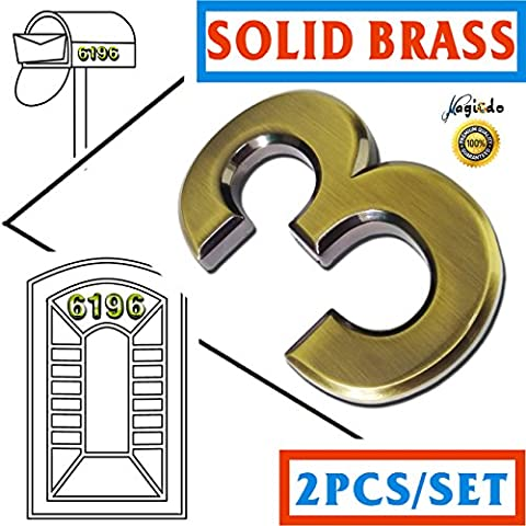 Solid Brass Number 2 Packs– 2-3/4 Inch Magicdo, Modern House Number, Floating Appearance, Easy to install and made of solid Brass(2Pcs/pack Brass)