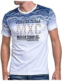 BLZ jeans - T-shirt homme blanc imprimé fashion relief