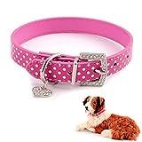 quanjucheer Hundehalsband, süß verstellbaren Kunstleder Strass Halsband Halskette