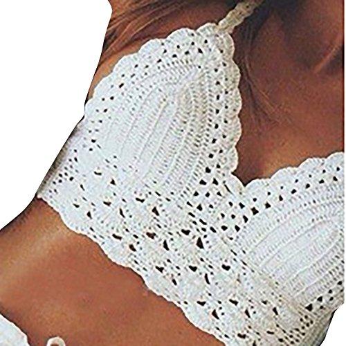 Damen Neckholder Bikinioberteil Jugendliche Retro Gehäkelt Bikinis Camisole Bandage Design Sommer Strand Tops Swimwear Bikini Top Weiß