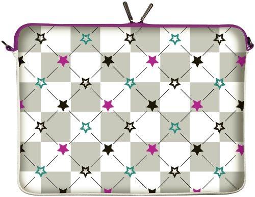 Digittrade LS112-15 Stars Designer Laptoptasche 15,6 Zoll (39,1 cm) aus Neopren Laptop-Schutzhülle Sleeve Tasche Hülle Cover Case Bag türkis lila grau (Star Multi Öse)