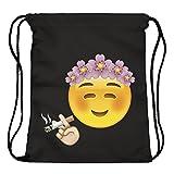Emoji Chill Emoticon Smileys Beutel Stringbag Jutebeutel Turnbeutel Sporttasche Hipster Sack Umhängetasche Loomiloo Swag (Schwarz) -