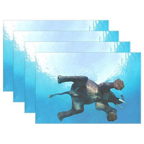 baihuishop Indischer Elefant Schwimmen 30,5x 45,7cm Tischsets Esstisch Mats für Zuhause Küche Büro, Set von 6