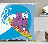 BUZRL Ride The Wave Shower Curtain, Cute French Bulldog Surfing And Smiling Happy Adventure Exotic Dog Cartoon, Fabric Bathroom Decor Set with Hooks, 60W X 72L Inche Extra Wide