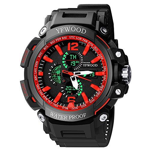 yfwood Herren Outdoor Sport Handgelenk Uhren stoßfest Multifunktional Analog Quarz Rot Japanisches Uhrwerk Militär 24h Zeit Mode Uhr mit PU Tasche schwarz Gurt