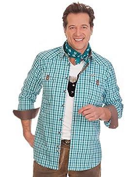 H1507 - Trachtenhemd langer Arm - WASHINGTON - türkis, rot