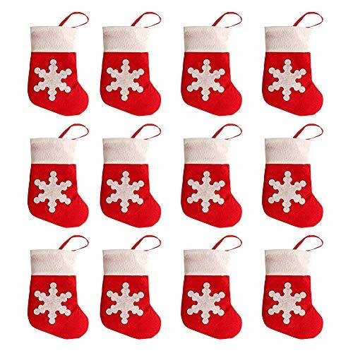 Naisicatar 12pcs de Navidad Cubierta Vajilla Tabla Creativa Tela no Tejida de la Nieve del calcetín Cubiertos Bolsas de Navidad Suministros para Cuchillos y Tenedores Mejor Regalo para la Navidad