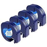 Anycolor 4X Bänder Kompatibel zu Dymo Letratag Etikettenband 91221 S0721660 Kunststoff Schwarz auf Weiß für Etikettendrucker LT-100H lt-100t lt-110t QX 50 XR XM 2000 Plus